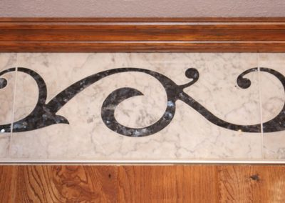 Waterjet Cut Marble and Granite Inlay Border Used in Flooring at home