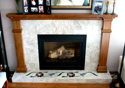 Marble Fireplace Hearth with Granite Inlay