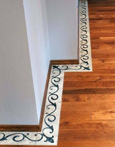 Corner View of Marble and Granite Inlay Floor Border